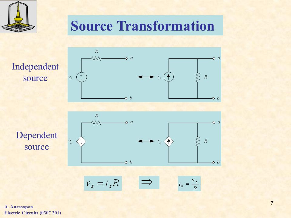 7 A. Aurasopon Electric Circuits (0307 201) Source Transformation Independent source Dependent source