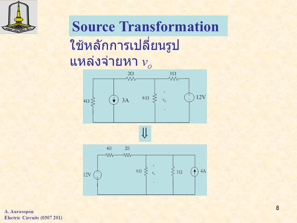 8 A. Aurasopon Electric Circuits (0307 201) Source Transformation ใช้หลักการเปลี่ยนรูป แหล่งจ่ายหา v o