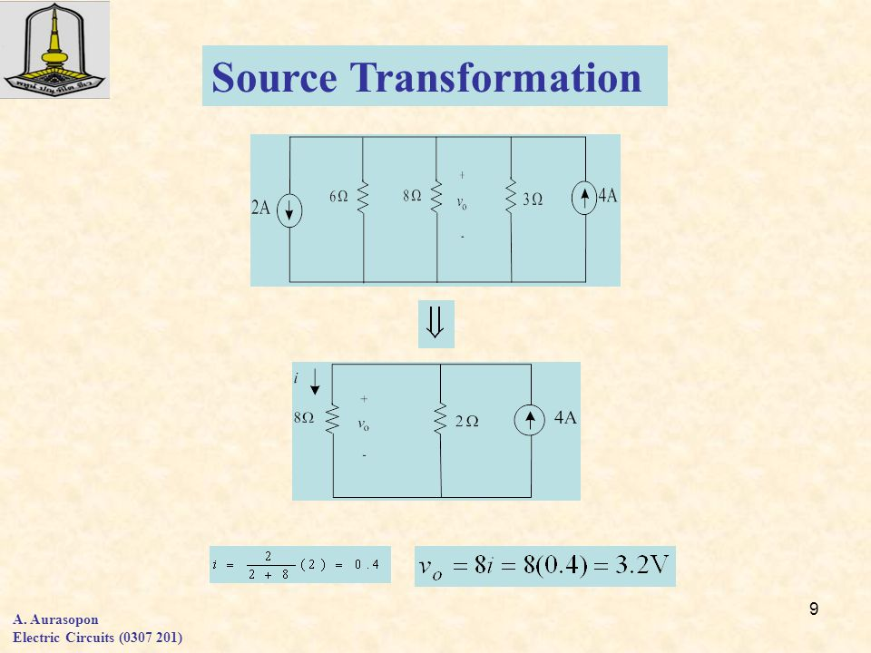 9 A. Aurasopon Electric Circuits (0307 201) Source Transformation