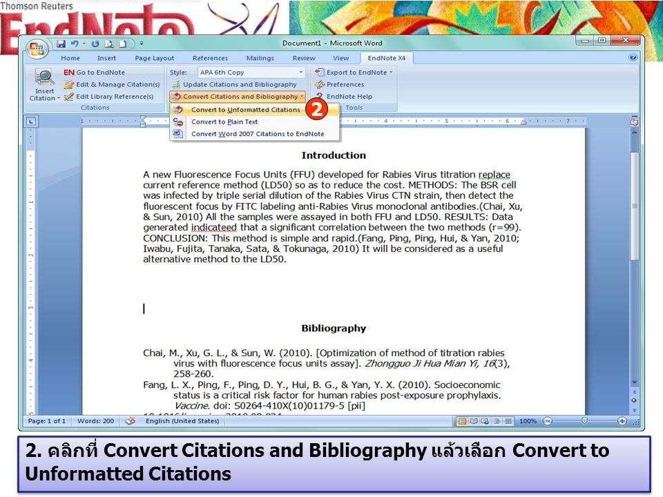 2. คลิกที่ Convert Citations and Bibliography แล้วเลือก Convert to Unformatted Citations 2