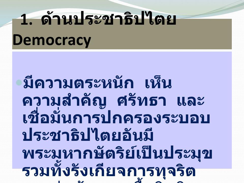 1. ด้านประชาธิปไตย Democracy มีความตระหนัก เห็น ความสำคัญ ศรัทธา และ เชื่อมั่นการปกครองระบอบ ประชาธิปไตยอันมี พระมหากษัตริย์เป็นประมุข รวมทั้งรังเกียจ