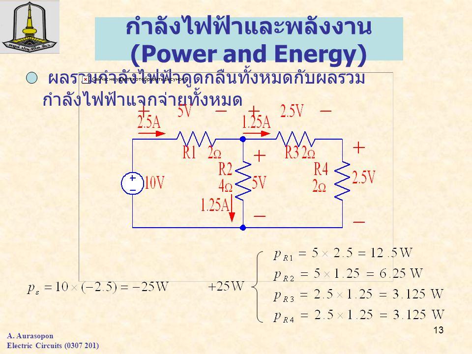 13 ผลรวมกำลังไฟฟ้าดูดกลืนทั้งหมดกับผลรวม กำลังไฟฟ้าแจกจ่ายทั้งหมด กำลังไฟฟ้าและพลังงาน (Power and Energy) A.