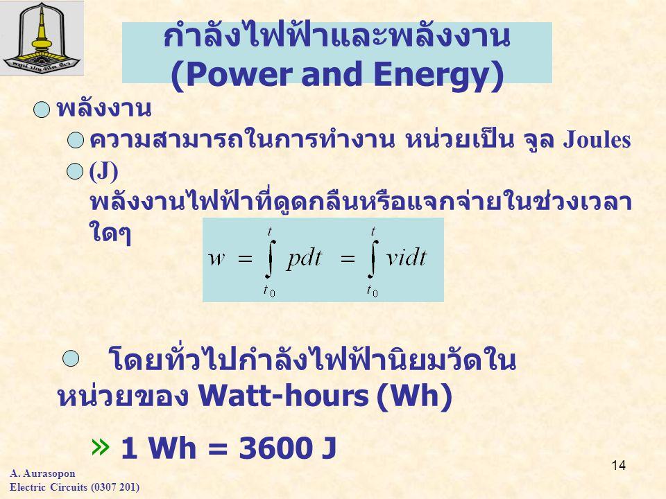 14 พลังงาน ความสามารถในการทำงาน หน่วยเป็น จูล Joules (J) พลังงานไฟฟ้าที่ดูดกลืนหรือแจกจ่ายในช่วงเวลา ใดๆ โดยทั่วไปกำลังไฟฟ้านิยมวัดใน หน่วยของ Watt-hours (Wh) » 1 Wh = 3600 J กำลังไฟฟ้าและพลังงาน (Power and Energy) A.