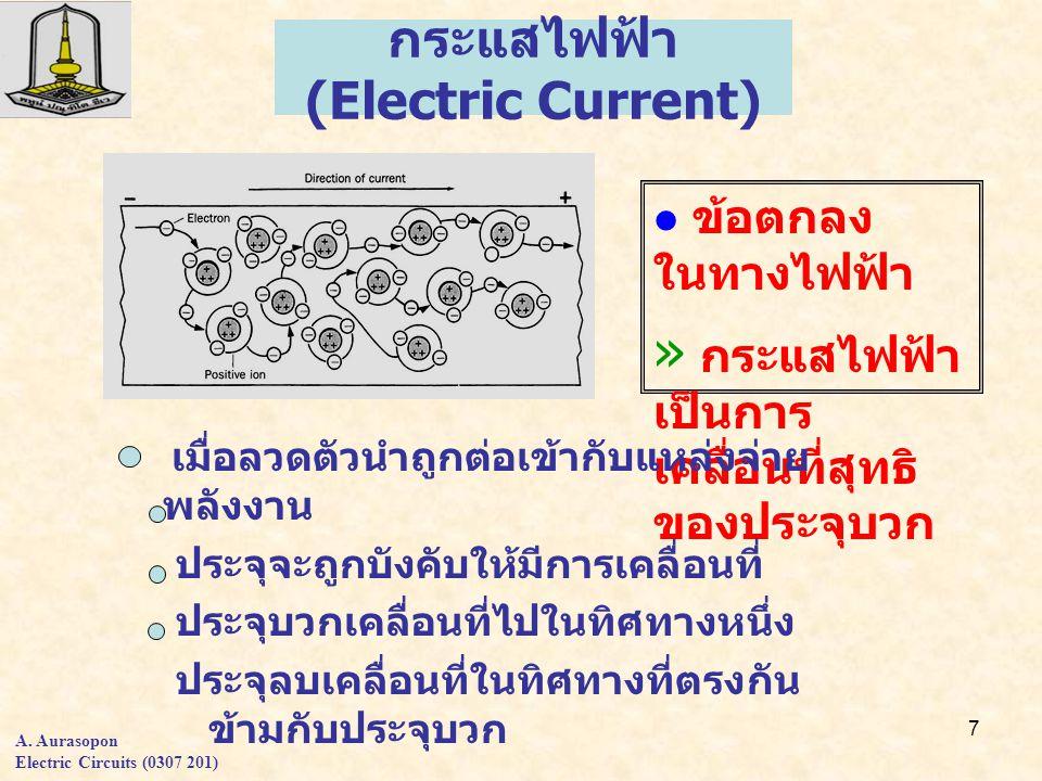 7 กระแสไฟฟ้า (Electric Current) ข้อตกลง ในทางไฟฟ้า » กระแสไฟฟ้า เป็นการ เคลื่อนที่สุทธิ ของประจุบวก เมื่อลวดตัวนำถูกต่อเข้ากับแหล่งจ่าย พลังงาน ประจุจะถูกบังคับให้มีการเคลื่อนที่ ประจุบวกเคลื่อนที่ไปในทิศทางหนึ่ง ประจุลบเคลื่อนที่ในทิศทางที่ตรงกัน ข้ามกับประจุบวก A.
