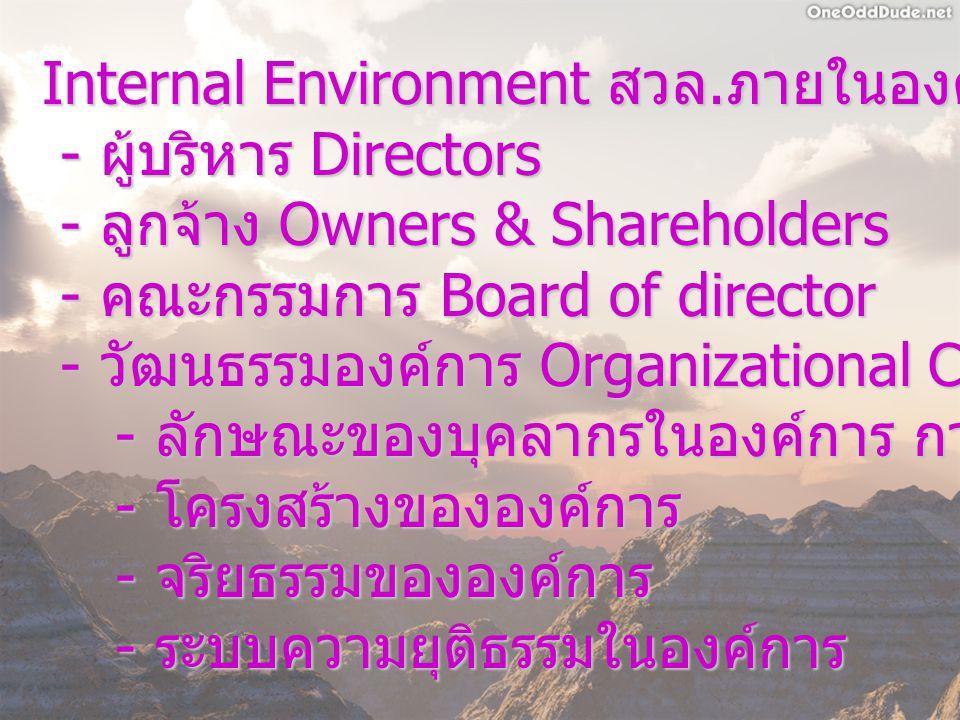 Internal Environment สวล. ภายในองค์การ - ผู้บริหาร Directors - ผู้บริหาร Directors - ลูกจ้าง Owners & Shareholders - ลูกจ้าง Owners & Shareholders - ค