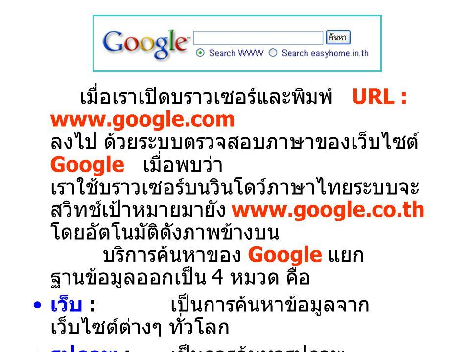 เมื่อเราเปิดบราวเซอร์และพิมพ์ URL : www.google.com ลงไป ด้วยระบบตรวจสอบภาษาของเว็บไซต์ Google เมื่อพบว่า เราใช้บราวเซอร์บนวินโดว์ภาษาไทยระบบจะ สวิทช์เป้าหมายมายัง www.google.co.th โดยอัตโนมัติดังภาพข้างบน บริการค้นหาของ Google แยก ฐานข้อมูลออกเป็น 4 หมวด คือ เว็บ : เป็นการค้นหาข้อมูลจาก เว็บไซต์ต่างๆ ทั่วโลก รูปภาพ : เป็นการค้นหารูปภาพ หลากหลายฟอร์แมตจากเว็บไซต์ ต่างๆ ทั่วโลก กลุ่มข่าว : เป็นการค้นหาเรื่องราวที่ น่าสนใจจากกลุ่มข่าวต่างๆ สารบัญเว็บ : การค้นหาข้อมูลจากเว็บไซต์ที่ แยกออกเป็นหมวดหมู่