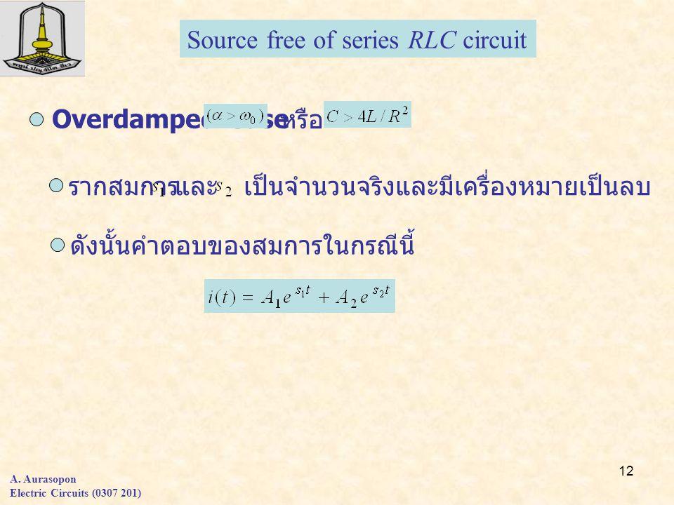 12 A. Aurasopon Electric Circuits (0307 201) Overdamped Case หรือ รากสมการและเป็นจำนวนจริงและมีเครื่องหมายเป็นลบ ดังนั้นคำตอบของสมการในกรณีนี้ Source