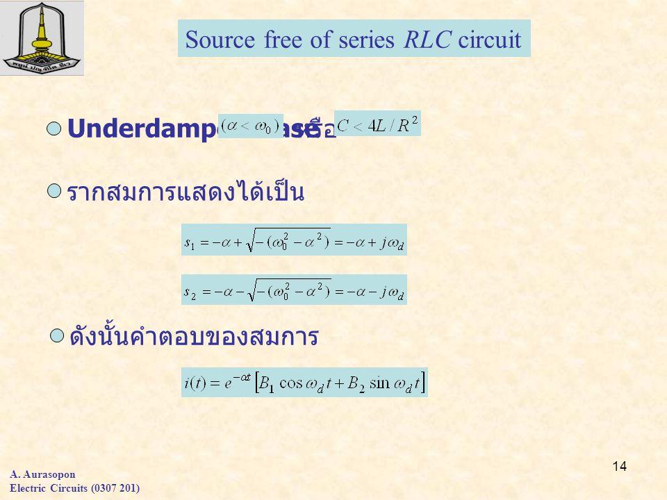14 A. Aurasopon Electric Circuits (0307 201) Source free of series RLC circuit Underdamped Case หรือ รากสมการแสดงได้เป็น ดังนั้นคำตอบของสมการ