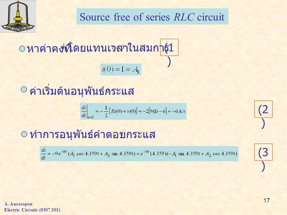 17 A. Aurasopon Electric Circuits (0307 201) Source free of series RLC circuit หาค่าคงที่ โดยแทนเวลา ค่าเริ่มต้นอนุพันธ์กระแส ทำการอนุพันธ์คำตอบกระแส