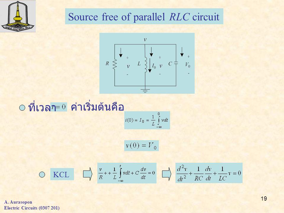 19 A. Aurasopon Electric Circuits (0307 201) Source free of parallel RLC circuit KCL ที่เวลา ค่าเริ่มต้นคือ