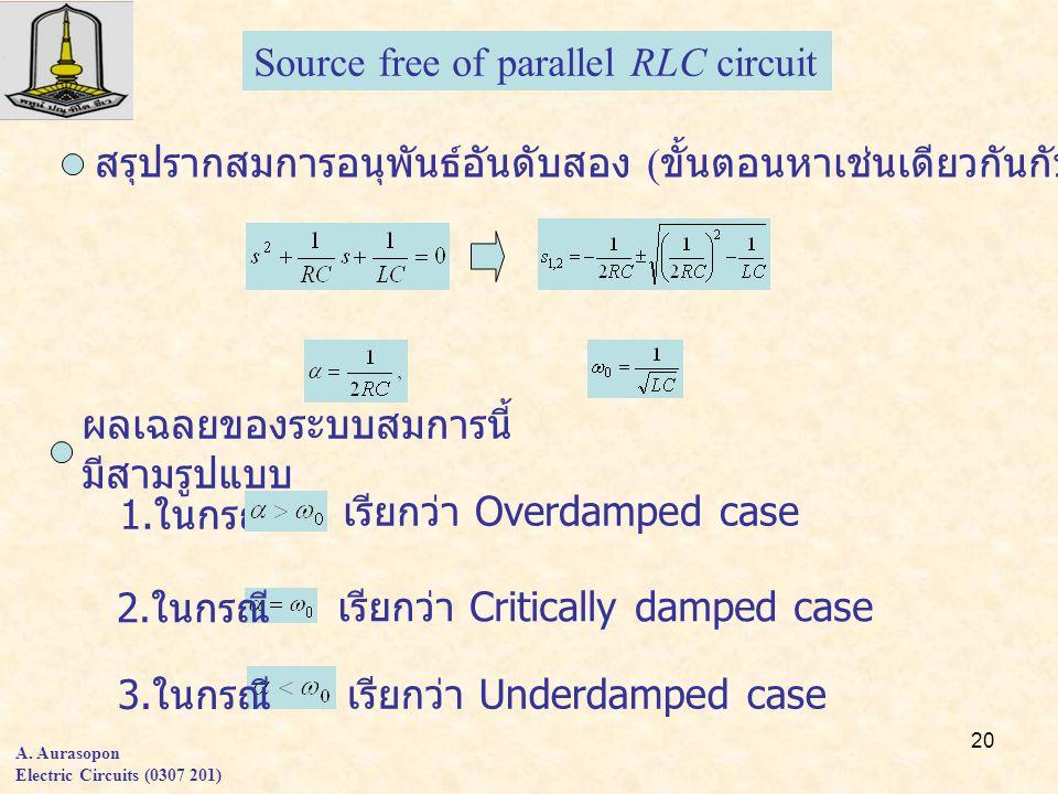 20 A. Aurasopon Electric Circuits (0307 201) Source free of parallel RLC circuit สรุปรากสมการอนุพันธ์อันดับสอง ( ขั้นตอนหาเช่นเดียวกันกับวงจรอนุกรม )