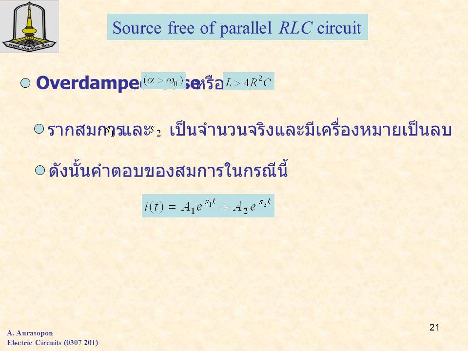 21 A. Aurasopon Electric Circuits (0307 201) Source free of parallel RLC circuit Overdamped Case หรือ รากสมการและเป็นจำนวนจริงและมีเครื่องหมายเป็นลบ ด