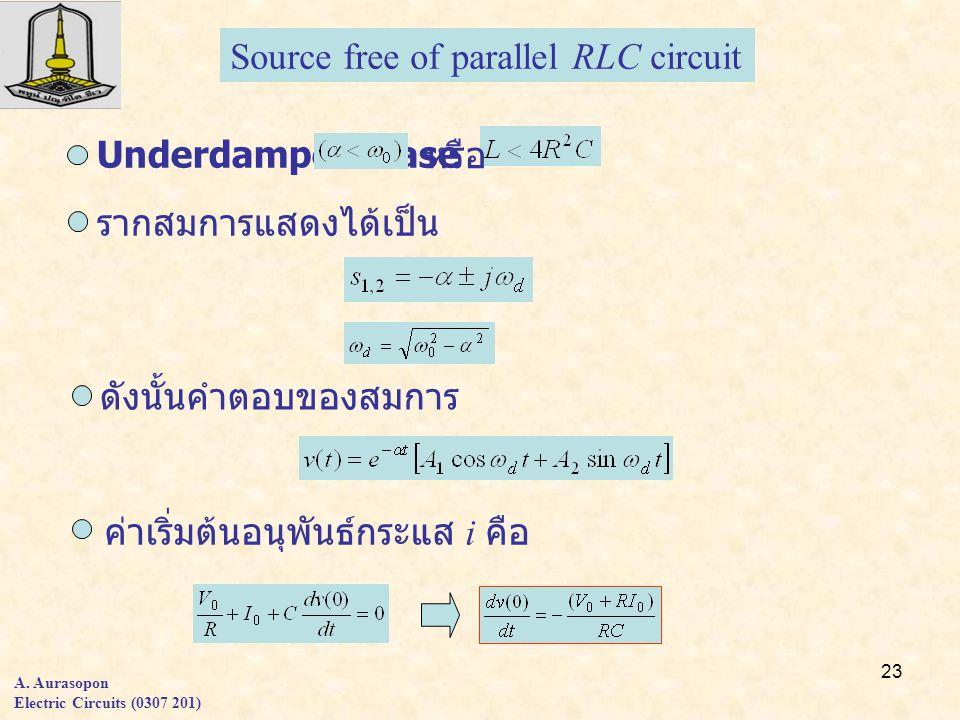 23 A. Aurasopon Electric Circuits (0307 201) Source free of parallel RLC circuit Underdamped Case หรือ รากสมการแสดงได้เป็น ดังนั้นคำตอบของสมการ ค่าเริ