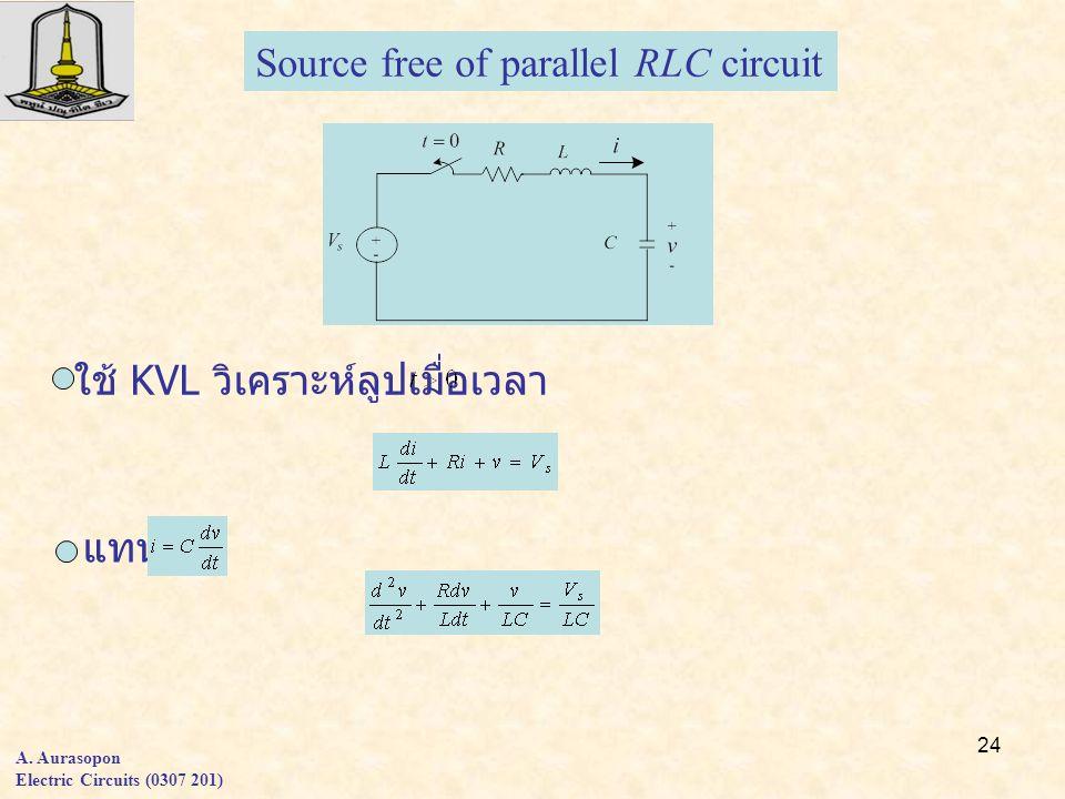 24 A. Aurasopon Electric Circuits (0307 201) Source free of parallel RLC circuit ใช้ KVL วิเคราะห์ลูปเมื่อเวลา แทน