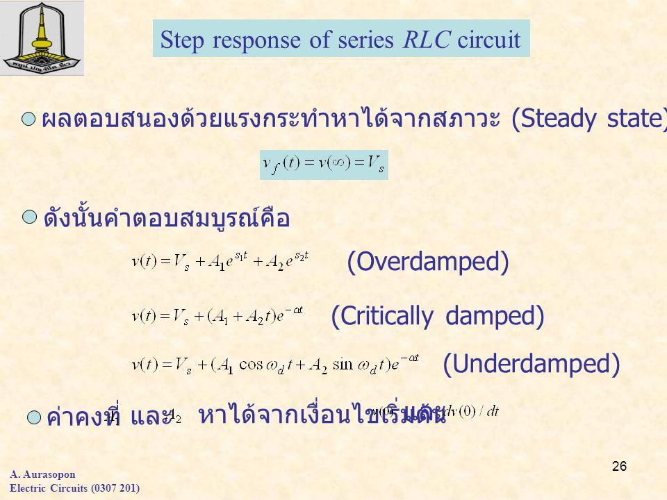26 A. Aurasopon Electric Circuits (0307 201) ผลตอบสนองด้วยแรงกระทำหาได้จากสภาวะ (Steady state) Step response of series RLC circuit ดังนั้นคำตอบสมบูรณ์
