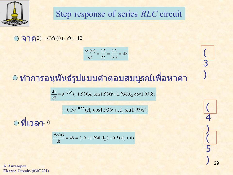 29 A. Aurasopon Electric Circuits (0307 201) จาก Step response of series RLC circuit ทำการอนุพันธ์รูปแบบคำตอบสมบูรณ์เพื่อหาค่า ที่เวลา (3)(3) (4)(4) (