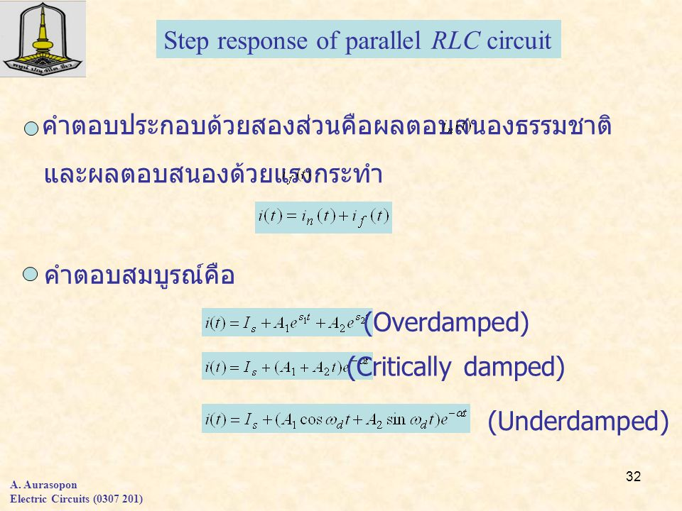 32 Step response of parallel RLC circuit A.