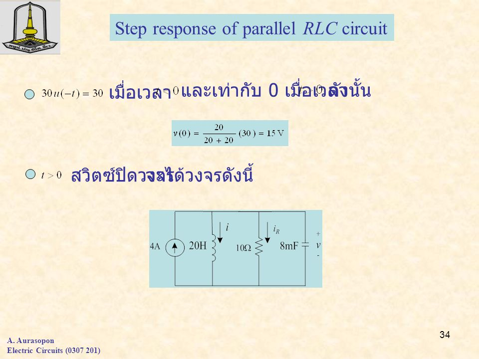 34 Step response of parallel RLC circuit A.