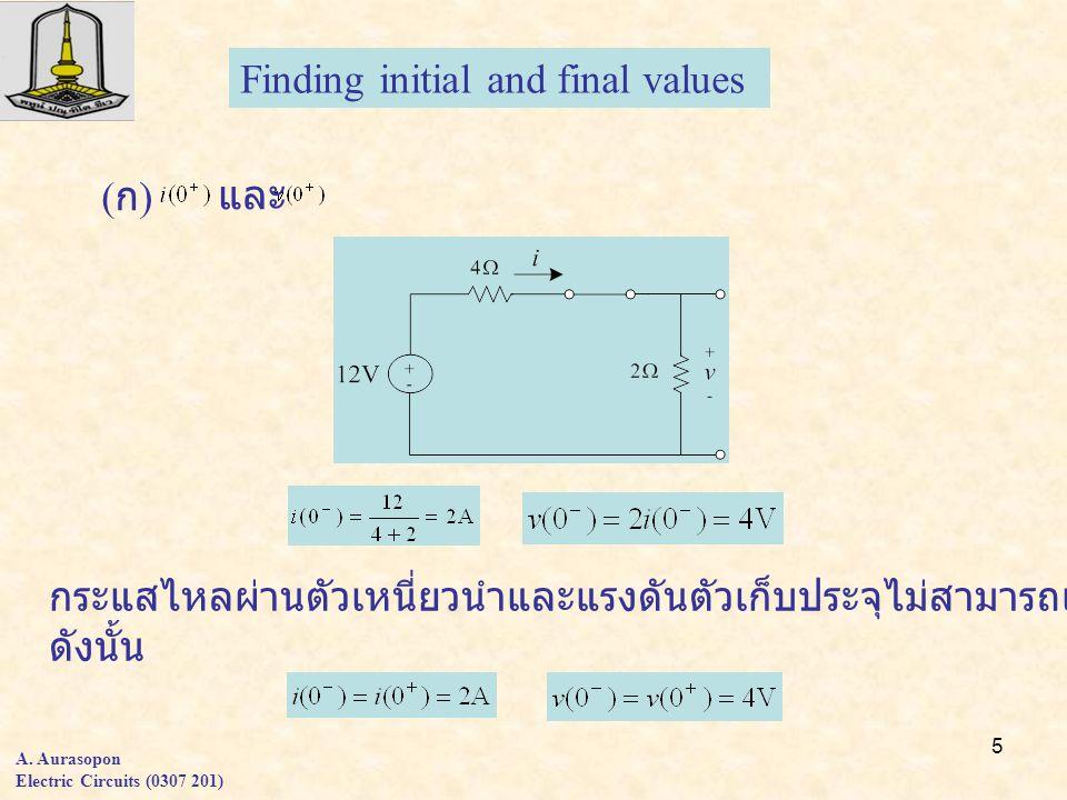 5 A. Aurasopon Electric Circuits (0307 201) Finding initial and final values (ก)(ก) และ กระแสไหลผ่านตัวเหนี่ยวนำและแรงดันตัวเก็บประจุไม่สามารถเปลี่ยนแ