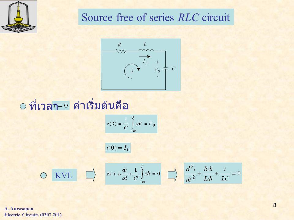 8 A. Aurasopon Electric Circuits (0307 201) KVL Source free of series RLC circuit ที่เวลา ค่าเริ่มต้นคือ