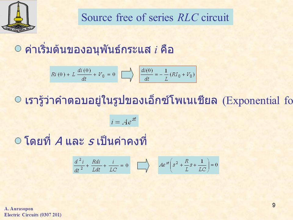 9 A. Aurasopon Electric Circuits (0307 201) ค่าเริ่มต้นของอนุพันธ์กระแส i คือ เรารู้ว่าคำตอบอยู่ในรูปของเอ็กซ์โพเนเชียล (Exponential form) โดยที่ A แล