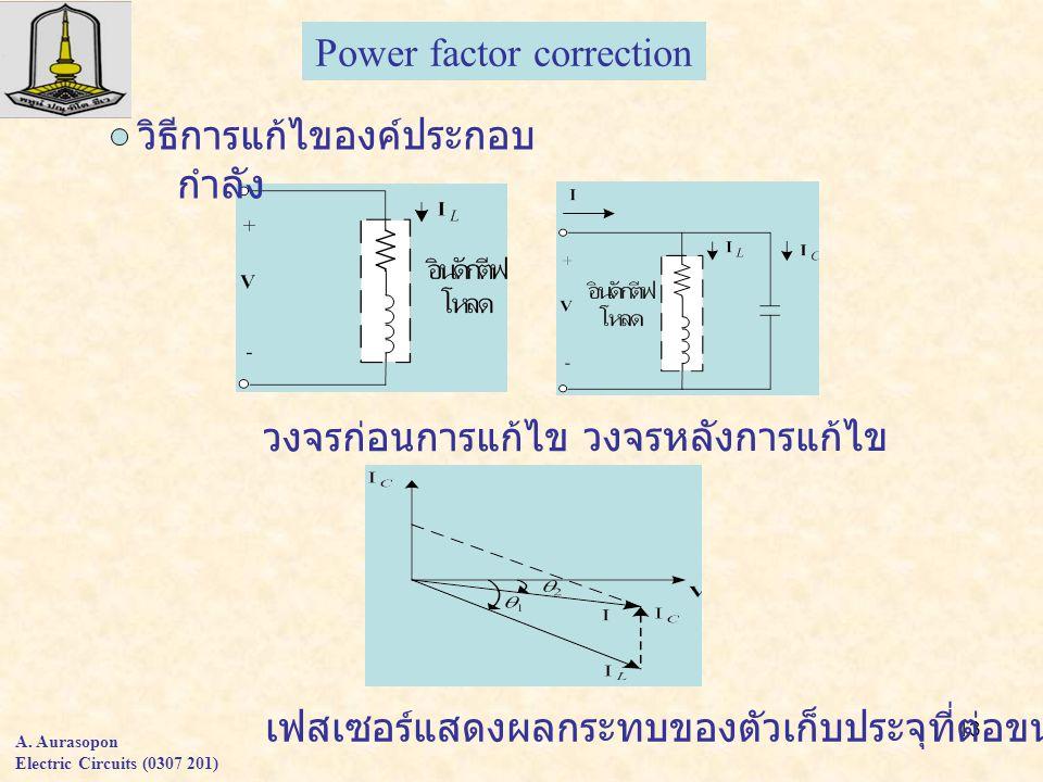 13 A. Aurasopon Electric Circuits (0307 201) Power factor correction วิธีการแก้ไของค์ประกอบ กำลัง วงจรก่อนการแก้ไข วงจรหลังการแก้ไข เฟสเซอร์แสดงผลกระท