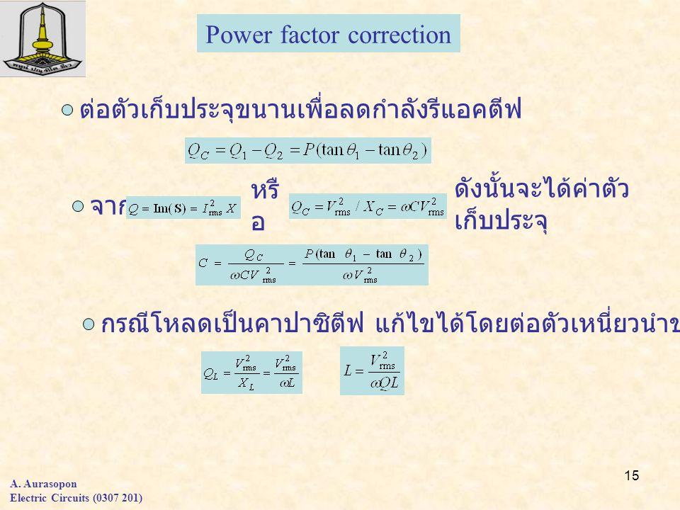 15 A. Aurasopon Electric Circuits (0307 201) Power factor correction ต่อตัวเก็บประจุขนานเพื่อลดกำลังรีแอคตีฟ จาก หรื อ ดังนั้นจะได้ค่าตัว เก็บประจุ กร