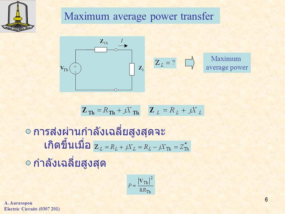 6 A. Aurasopon Electric Circuits (0307 201) Maximum average power transfer การส่งผ่านกำลังเฉลี่ยสูงสุดจะ เกิดขึ้นเมื่อ กำลังเฉลี่ยสูงสุด Maximum avera