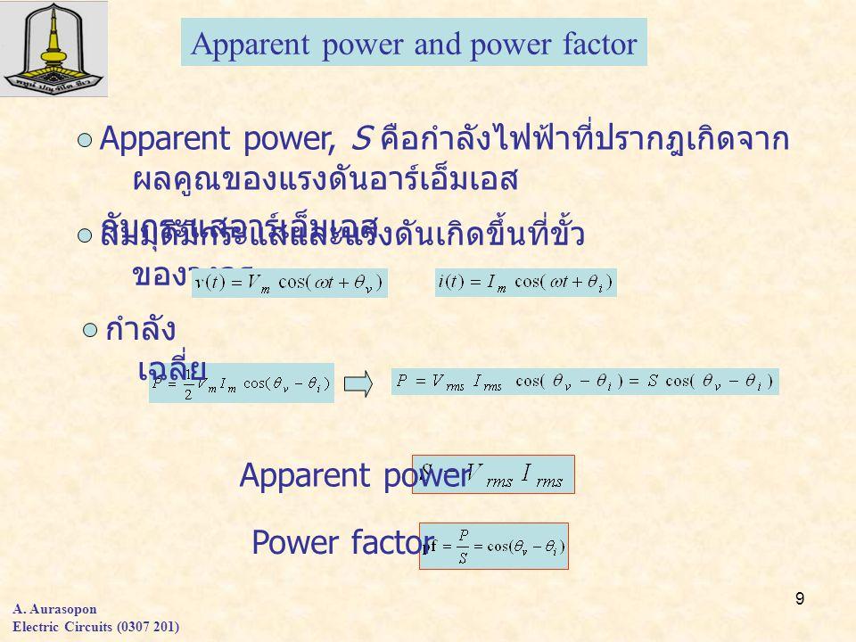 9 A. Aurasopon Electric Circuits (0307 201) Apparent power and power factor Apparent power, S คือกำลังไฟฟ้าที่ปรากฎเกิดจาก ผลคูณของแรงดันอาร์เอ็มเอส ก