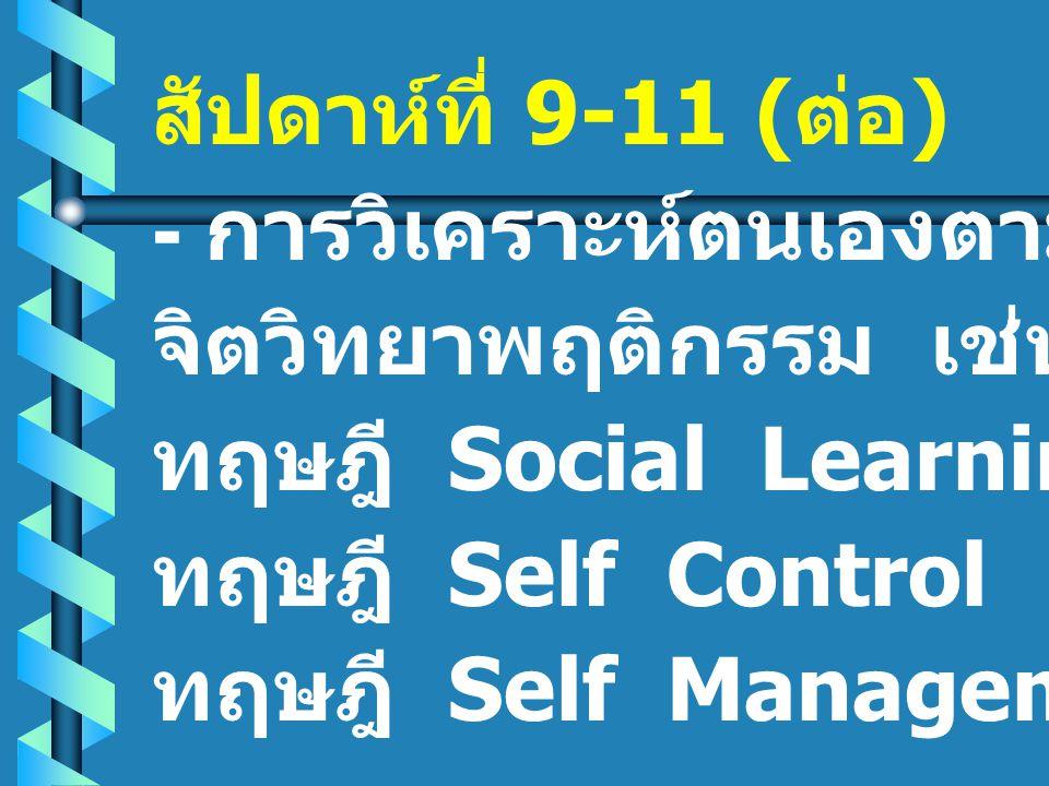 สัปดาห์ที่ 9-11 ( ต่อ ) - การวิเคราะห์ตนเองตามแนว จิตวิทยาพฤติกรรม เช่น ทฤษฎี Social Learning ทฤษฎี Self Control ทฤษฎี Self Management
