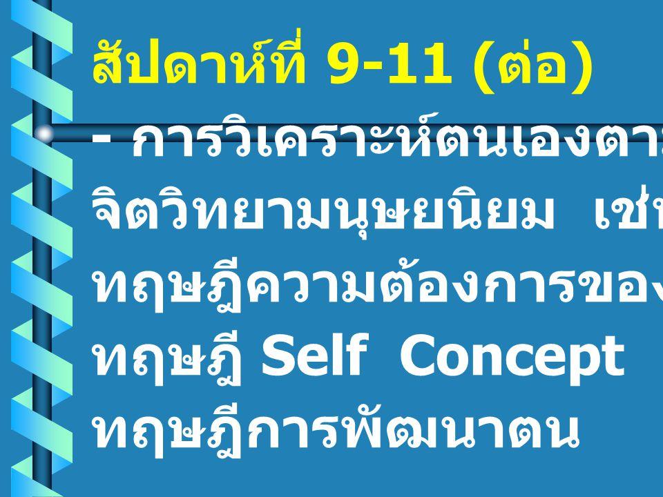 สัปดาห์ที่ 9-11 ( ต่อ ) - การวิเคราะห์ตนเองตามแนวคิด จิตวิทยามนุษยนิยม เช่น ทฤษฎีความต้องการของมาสโลว์ ทฤษฎี Self Concept ทฤษฎีการพัฒนาตน
