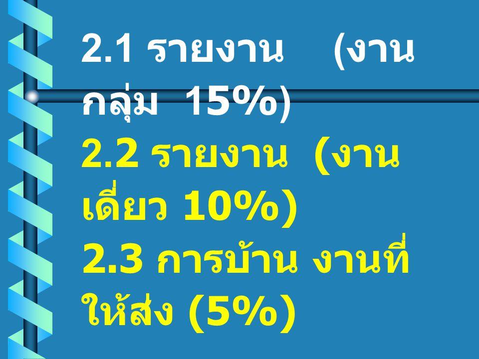 2.1 รายงาน ( งาน กลุ่ม 15%) 2.2 รายงาน ( งาน เดี่ยว 10%) 2.3 การบ้าน งานที่ ให้ส่ง (5%)