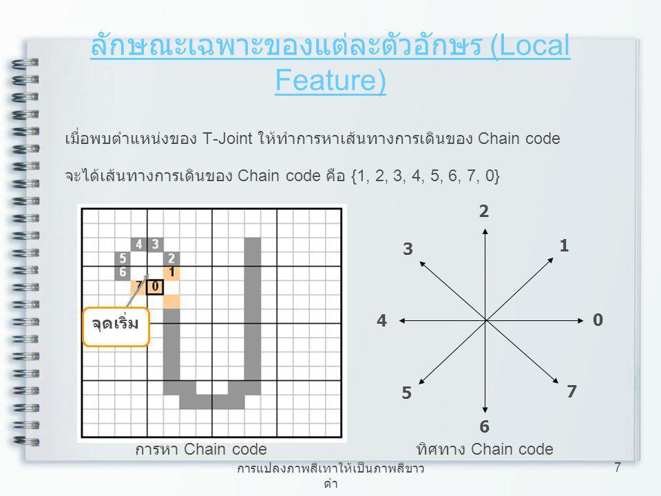 การแปลงภาพสีเทาให้เป็นภาพสีขาว ดำ 8 ลักษณะเฉพาะของแต่ละตัวอักษร (Local Feature) ภาพ ข ที่ใช้เพื่อหาตำแหน่งหัว ของตัวอักษร Feature ที่ได้จากการหาตำแหน่งหัว ของตัวอักษร = 5 Feature จากภาพ ข มีตำแหน่งหัวอยู่ที่ โซน 1