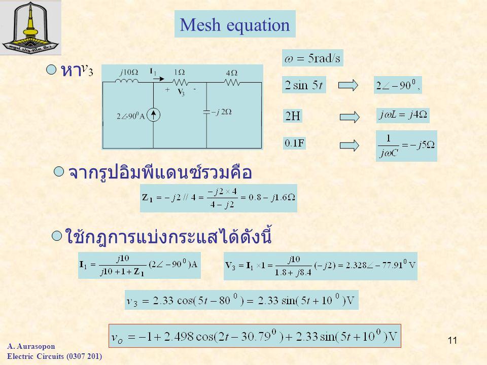 11 A. Aurasopon Electric Circuits (0307 201) Mesh equation หา จากรูปอิมพีแดนซ์รวมคือ ใช้กฎการแบ่งกระแสได้ดังนี้