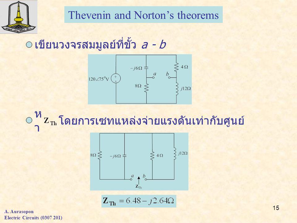 15 A. Aurasopon Electric Circuits (0307 201) Thevenin and Norton's theorems เขียนวงจรสมมูลย์ที่ขั้ว a - b หาหา โดยการเซทแหล่งจ่ายแรงดันเท่ากับศูนย์
