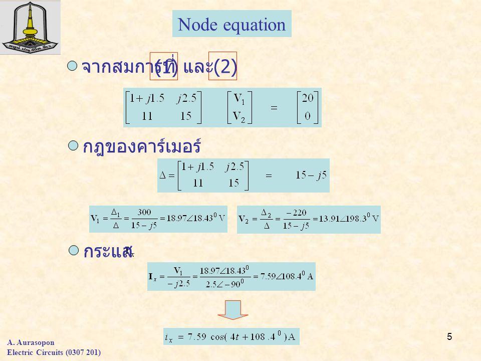 5 A. Aurasopon Electric Circuits (0307 201) จากสมการที่ Node equation กฎของคาร์เมอร์ กระแส (1)(1) (2) และ