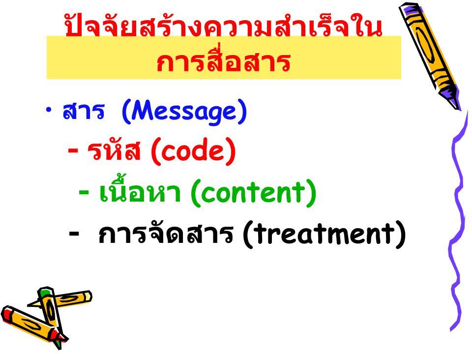 ปัจจัยสร้างความสำเร็จใน การสื่อสาร สาร (Message) - รหัส (code) - เนื้อหา (content) - การจัดสาร (treatment)
