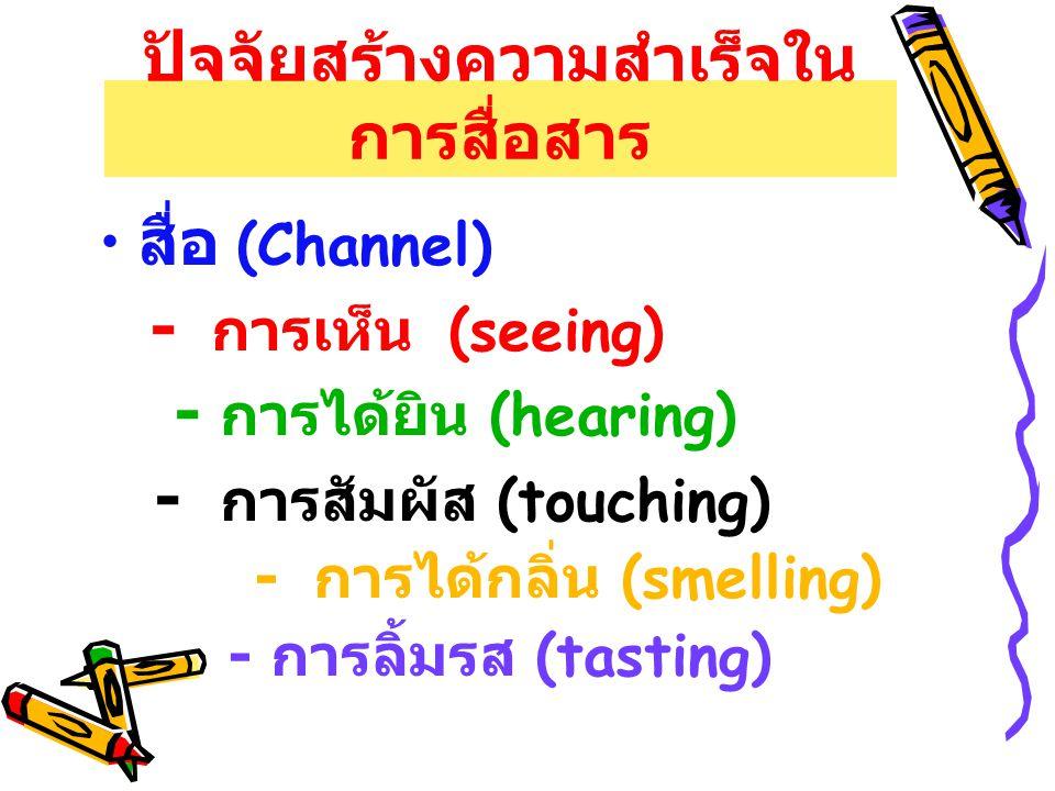 ปัจจัยสร้างความสำเร็จใน การสื่อสาร สื่อ (Channel) - การเห็น (seeing) - การได้ยิน (hearing) - การสัมผัส (touching) - การได้กลิ่น (smelling) - การลิ้มรส