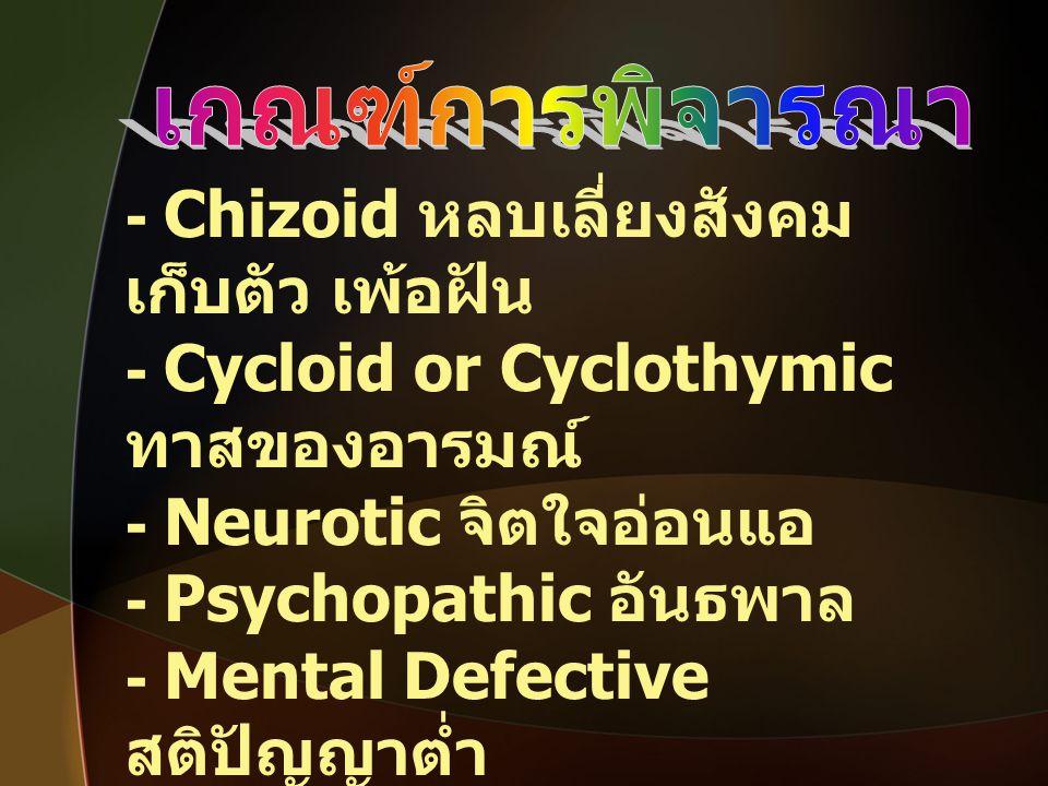 - Chizoid หลบเลี่ยงสังคม เก็บตัว เพ้อฝัน - Cycloid or Cyclothymic ทาสของอารมณ์ - Neurotic จิตใจอ่อนแอ - Psychopathic อันธพาล - Mental Defective สติปัญ