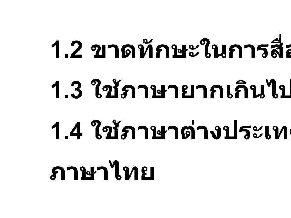 1.2 ขาดทักษะในการสื่อความ 1.3 ใช้ภาษายากเกินไป 1.4 ใช้ภาษาต่างประเทศปน ภาษาไทย