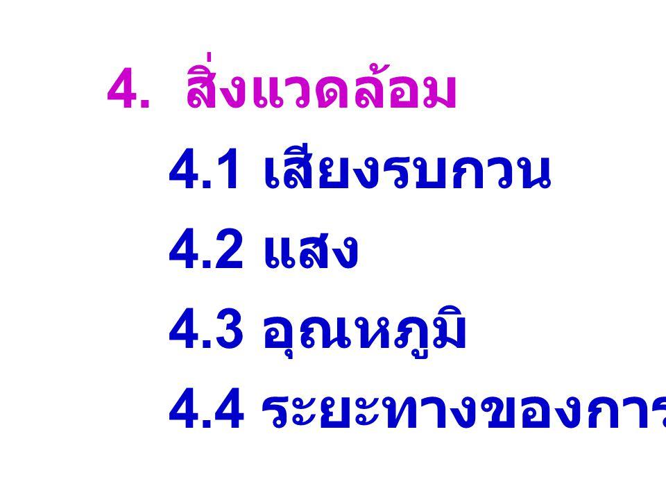 4. สิ่งแวดล้อม 4.1 เสียงรบกวน 4.2 แสง 4.3 อุณหภูมิ 4.4 ระยะทางของการสื่อสาร