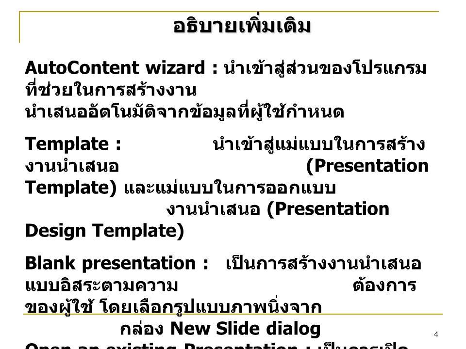 5 การออกจาก PowerPoint คลิกที่เมนู File  คลิก Exit หรือ กด Alt + F4 หรือ คลิกที่ปุ่ม Close บน Title Bar