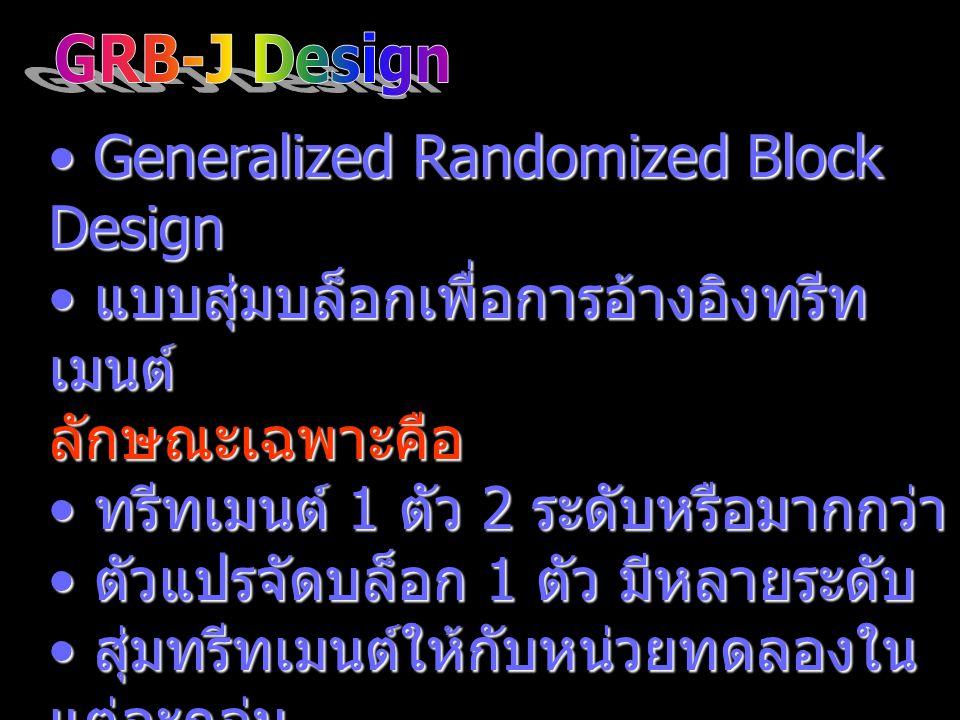 Generalized Randomized Block Design Generalized Randomized Block Design แบบสุ่มบล็อกเพื่อการอ้างอิงทรีท เมนต์ แบบสุ่มบล็อกเพื่อการอ้างอิงทรีท เมนต์ลัก