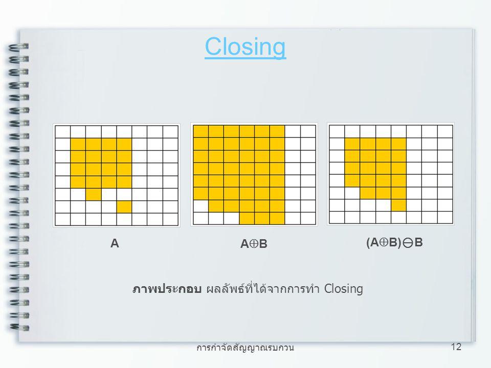 การกำจัดสัญญาณรบกวน 12 Closing (A  B)  B ABAB A ภาพประกอบ ผลลัพธ์ที่ได้จากการทำ Closing