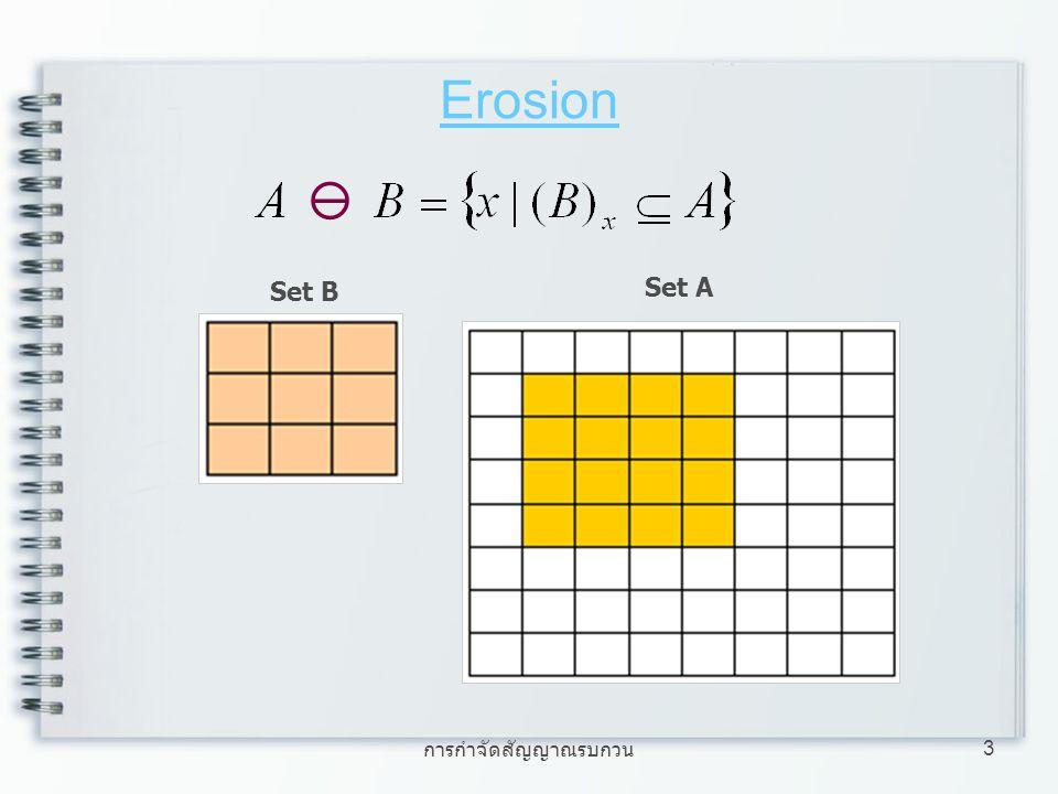 การกำจัดสัญญาณรบกวน 4 Erosion ภาพประกอบ การพิจารณาทำ Erosion การพิจารณา จุดที่ทำการลบ Set B ไม่อยู่ใน Set A ทั้งหมด