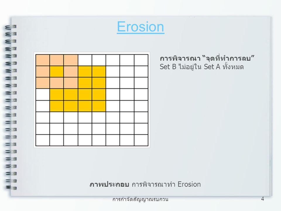 การกำจัดสัญญาณรบกวน 5 Erosion ภาพประกอบ การพิจารณาทำ Erosion การพิจารณา จุดที่ไม่ทำการลบ Set B อยู่ใน Set A ทั้งหมด