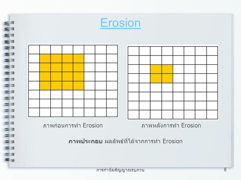 การกำจัดสัญญาณรบกวน 6 Erosion ภาพประกอบ ผลลัพธ์ที่ได้จากการทำ Erosion ภาพก่อนการทำ Erosion ภาพหลังการทำ Erosion