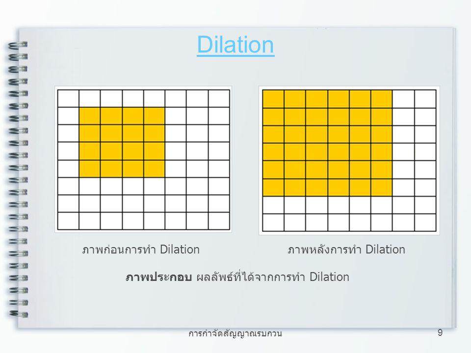 การกำจัดสัญญาณรบกวน 9 Dilation ภาพประกอบ ผลลัพธ์ที่ได้จากการทำ Dilation ภาพก่อนการทำ Dilationภาพหลังการทำ Dilation