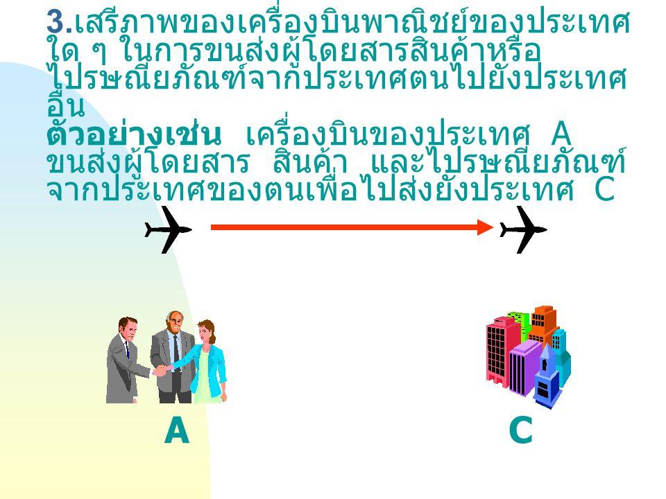3. เสรีภาพของเครื่องบินพาณิชย์ของประเทศ ใด ๆ ในการขนส่งผู้โดยสารสินค้าหรือ ไปรษณียภัณฑ์จากประเทศตนไปยังประเทศ อื่น ตัวอย่างเช่น เครื่องบินของประเทศ A