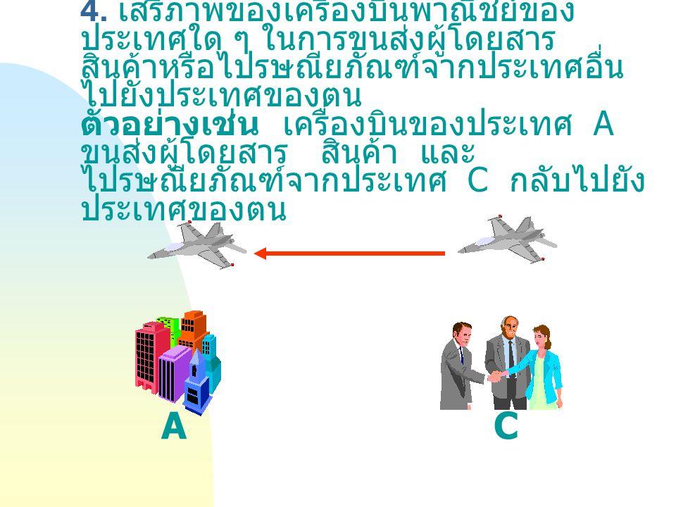 4. เสรีภาพของเครื่องบินพาณิชย์ของ ประเทศใด ๆ ในการขนส่งผู้โดยสาร สินค้าหรือไปรษณียภัณฑ์จากประเทศอื่น ไปยังประเทศของตน ตัวอย่างเช่น เครื่องบินของประเทศ